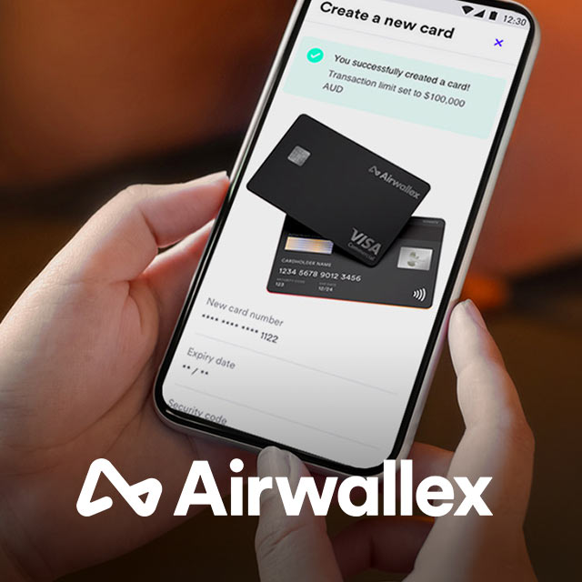 Airwallex app on a mobile phone and Airwallex logo below the image.